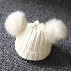 White Knitted Baby Beanie with 2 Pom Poms